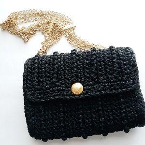 Trending Vintage Italian Black & Gold Chain Bag